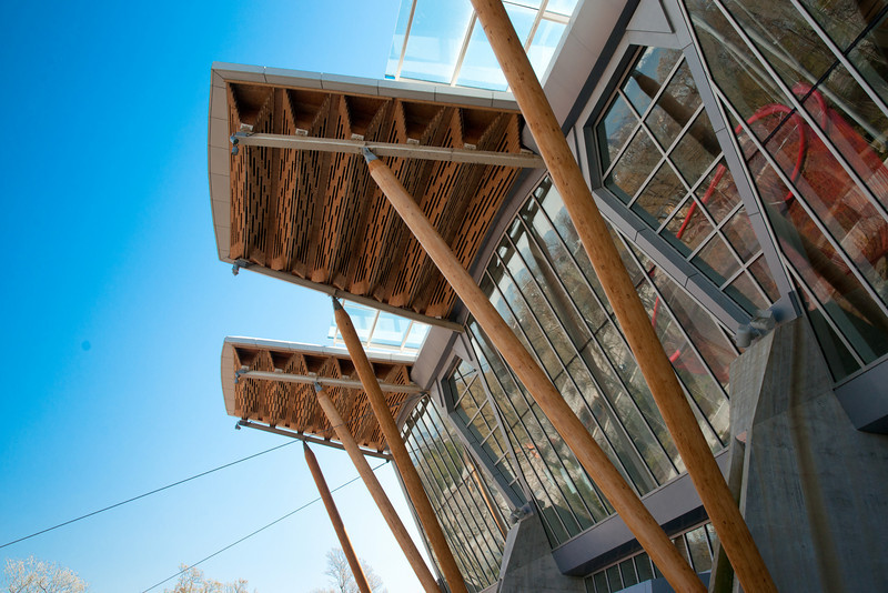 Detail of the wood roof on the north (river) side of the Richmond Olympic Oval.