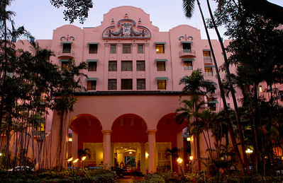 Grand Entry of The Royal Hawai'ian Hotel  also known as the Pink Palace