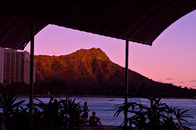 From the Patio, Diamond Head at Sunset