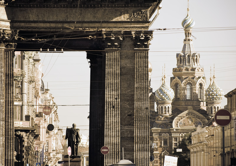 Abstract view of the Orthodox church of the spilled blood at Saint Petersburg, Russia