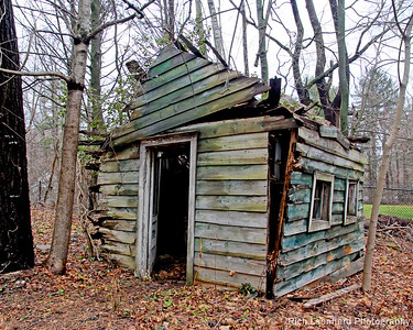 Old rustic shack in Muttontown Preserve. This building is almost at the point of complete collapse.