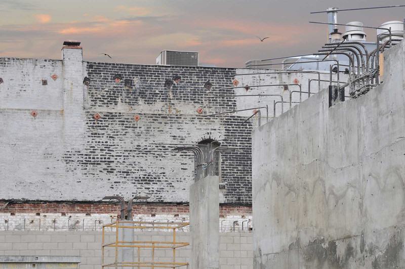 The Mayfair Theatre is gone - view of exposed brickwork and new construction beginning-2011