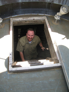 Sean Henschel emerges from the inner dome into the cupola at the top of California's Capitol.
