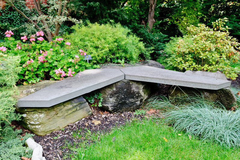 The Samara design was brought out into the garden with the stone bench.