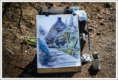 One of the watercolor paintings temporarily abandoned by its owner.