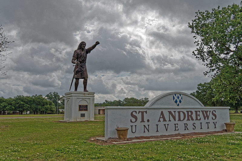 """""""The Scotsman""""  greets visitors to St. Andrews University"""