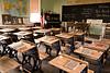 Old School Desks at Red Brick School, Washington County, Iowa