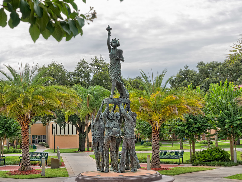 Statue of Liberty Lifted by Soldiers at St. Leo University
