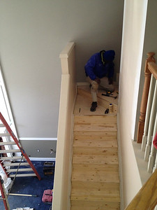 Our contractor had to rebuild the back stairs to accommodate the move from wall-to-wall carpet to  a painted stair with a carpet runner.  I didn't get a photo of when the stairs were completely gone!