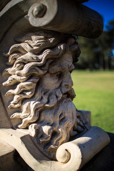 Sydney, Australia<br /> Detail from One of two Gryphonic statue guarding Parkes Drive, Centennial Park. Made by Villeroy and Boch and installed in the 1890s.