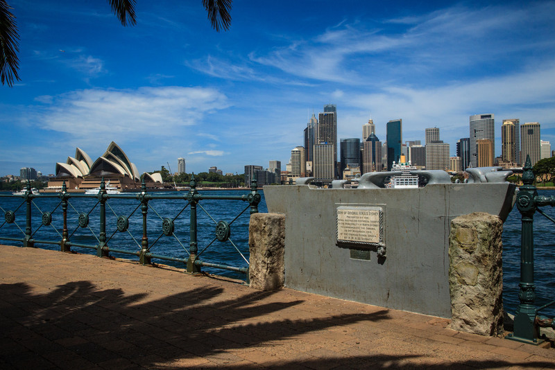 Kirribilli, Sydney, NSW, Australia<br /> Memorial noting Australia's first Naval battle (and victory), the sinking of the German light cruiser 'Emden' by Australian light cruiser 'HMAS Sydney' on the 9th Nov 1914. The memorial is actually part of HMAS Sydney's bow.