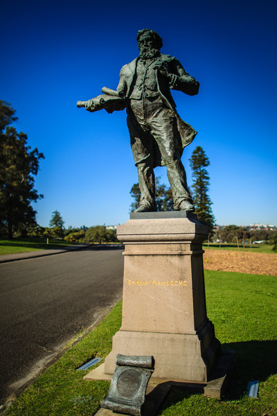Sydney, Australia<br /> Statue of Sir Henry Parkes, Centennial Park. The pedestal is from the 1897 original; the bronze (by sculptor Alan Somerville) replaced the original figure, following vandalism in 1971.