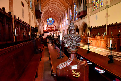 Looking from the end of the choir pews toward the main entrance to All Saints Chapel