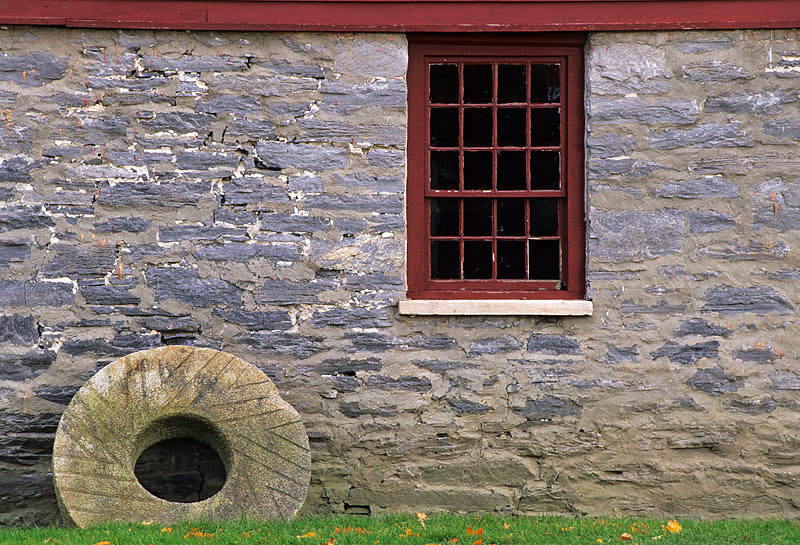 Shaker Stone Wheel and Window
