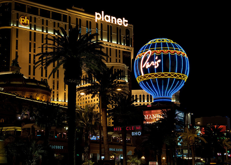 The Paris Hotel and Planet Hollywood on the Vegas Strip.