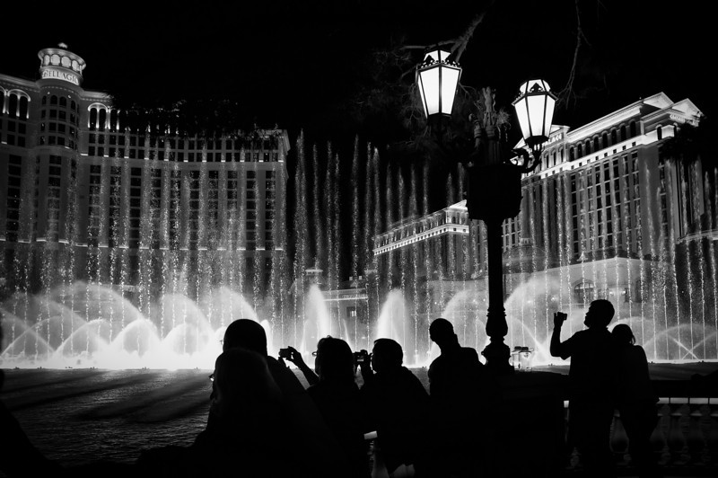 The famous water feature, in black and white, outside of The Bellagio Hotel, Las Vegas, NV.