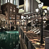 The amazing architectural details of the Venetian Hotel on the Vegas strip in the evening light.