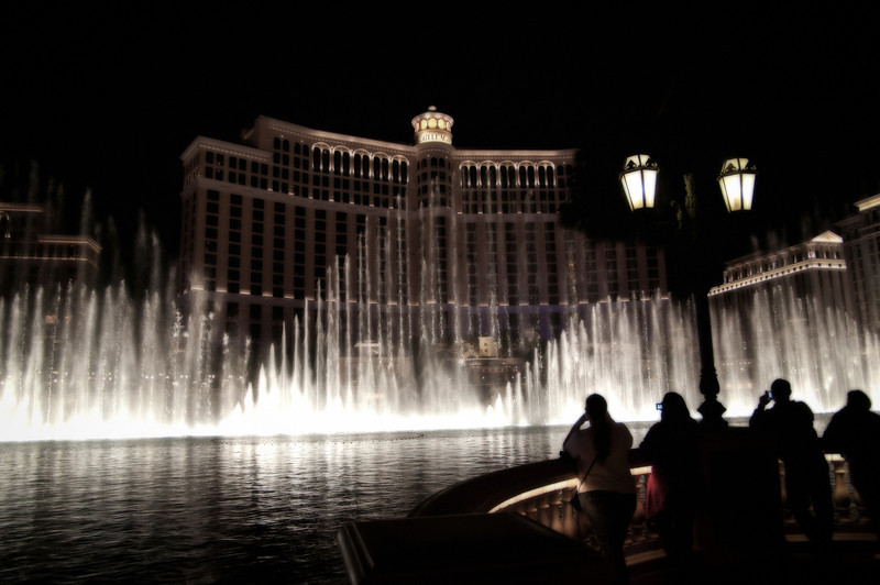 The famous water feature outside of The Bellagio Hotel, Las Vegas, NV.