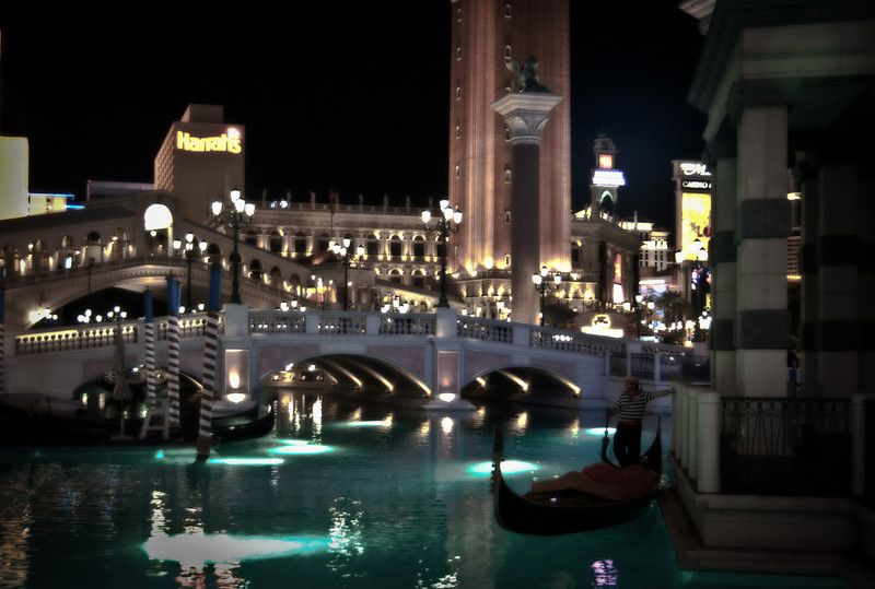 A view of the canal and bridge for the Venetian Hotel on the Vegas strip in the evening light.