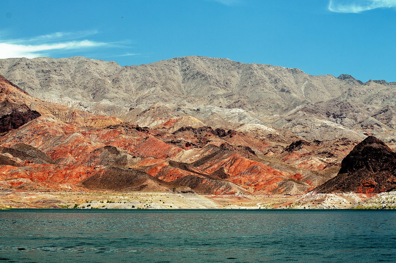 The beauty of nature in the rich colorful hills that form Lake Meade, created by the construction of the Hoover Dam.