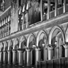 The amazing architectural details of the Venetian Hotel on the Vegas strip in black and white.