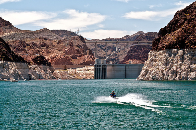 The Hoover Dam holding back the water that forms Lake Meade.