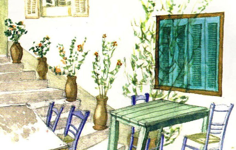Travel Water Color of a cafe in Greece