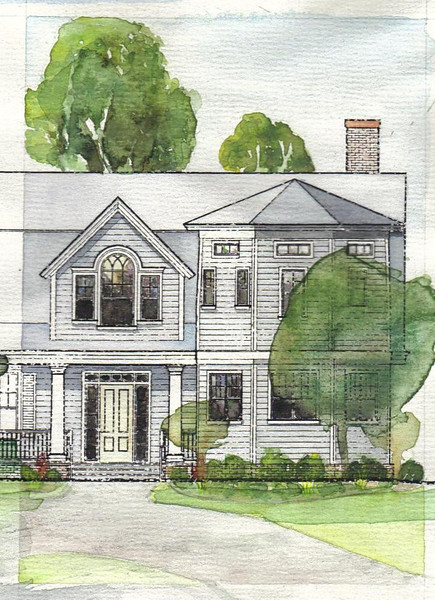 Water Color to study exterior finishes and colors