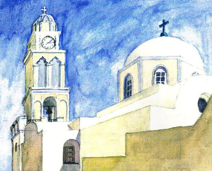 Travel Water Color of Catherdral in Satorini, Greece