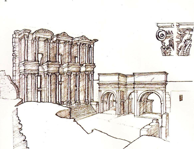 Travel Sketch of Ephesus, Turkey