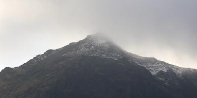 Autumn snow on the peak of Snowdon