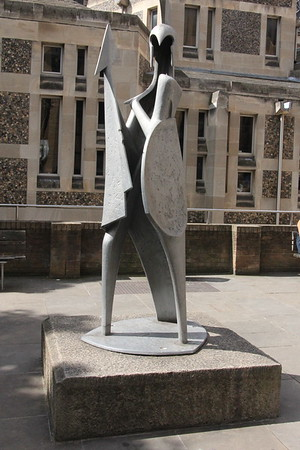 Alan Collins sculpture of Minerva outside Southwark Cathedral