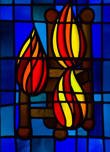 Stained glass flames   St. Andrew's Cathedral    downtown Honolulu, O'ahu, Hawai'i