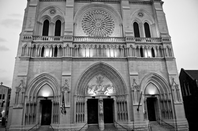 West Facade - Rose Window, Tympanum, and Trumeau carvings.