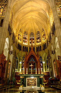 According to St. Mary's Cathedral Basilica of the Assumption's Website:    At the Cathedral's architectural center point stands the High Altar. Its Verde marble surface suggests ancient sacrificial stones.