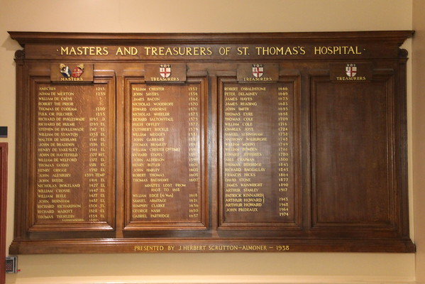 Record of Masters and Treasurers of St Thomas's Hospital