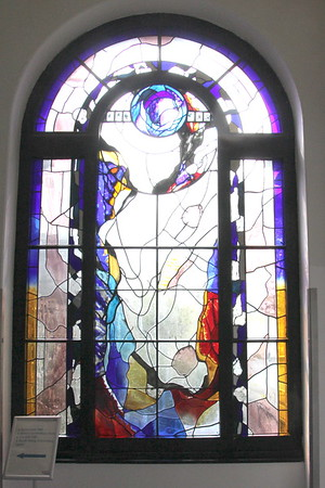 Stained glass in the link between buildings