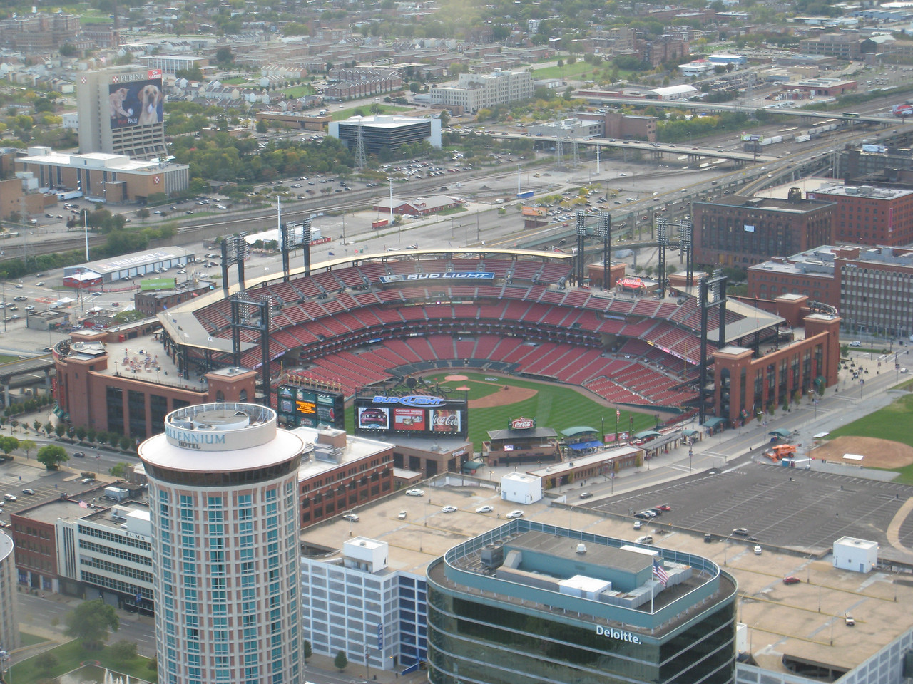 View of the Cardinals baseball field from the top of the arch