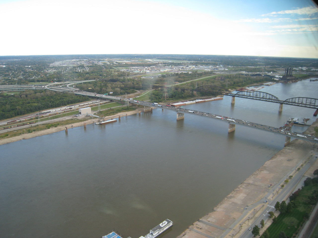 Mississippi River as seen from the top of the arch, looking south.