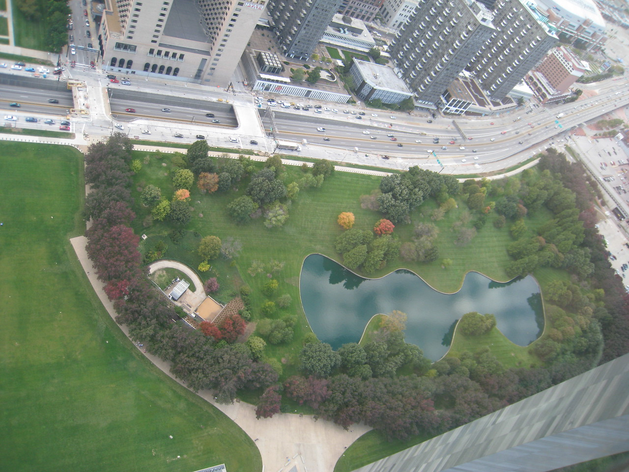 View of the park between the arch and downtown St. Louis