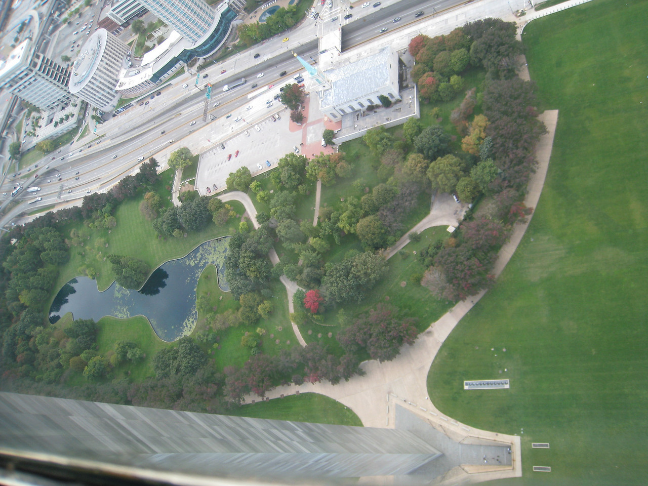 View from the top of the arch, looking west