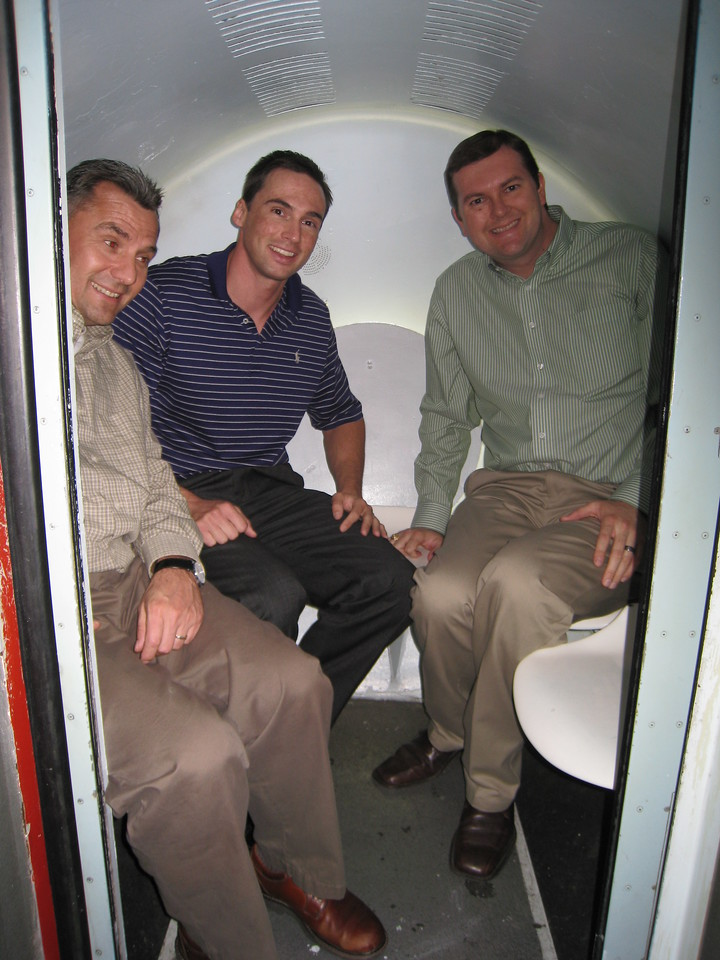 """David, Lance, and myself in the """"egg"""" tram car."""
