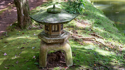 Statuary at Byodo-in Temple in Valley of the Temples, Oahu, Hawaii.