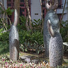 """Makai"" by John Tanji Koga, 1995, in bronze at Pacific Guardian Center in Downtown Honolulu, O`ahu, Hawai`i"