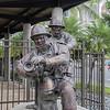 "The statue ""Na Kanaka Kinai Ahi,"" The Firefighters, in front of the Honolulu Fire Department on South Street, Honolulu, O`ahu, Hawai`i"