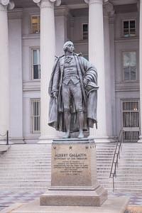 Statue of Albert Gallatin in front of U.S. Department of Treasury in Washington D.C.