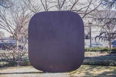 Stele II, by Ellsworth Kelly, 1973, one-inch weathering steel, at the National Art Museum Sculpture Garden, Washington, D.C.