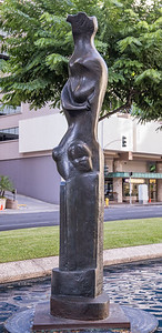 Sculpture at Bishop Square on downtown Honolulu, O`ahu, Hawai`i
