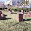 Six-part Seating, by Scott Burton, conceived 1985, fabricated 1998, granite, at the National Museum of Art Sculpture Garden, Washington, D.C.