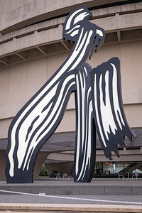 Brushstroke, by Roy Lichtenstein, enlarged and fabricated in 2002-2003, painted aluminum, at the Hirshhorn Museum and Sculpture Garden, Washington, D.C.
